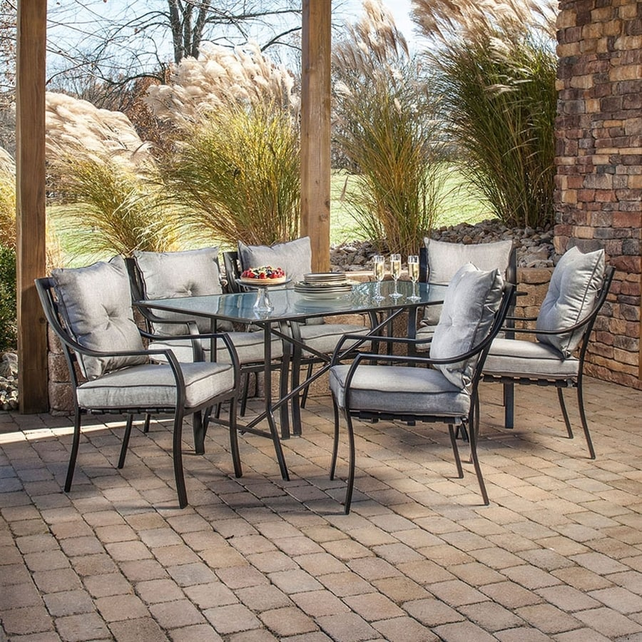 hanover outdoor furniture lavallette 7 piece brown metal frame patio dining set with silver linings hanover cushions