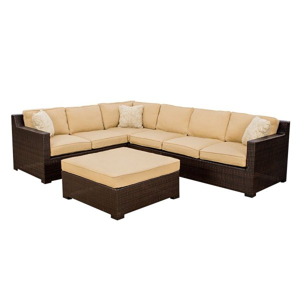 outdoor wicker furniture 5 piece patio set Hanover Outdoor Furniture Metropolitan 5-Piece Wicker