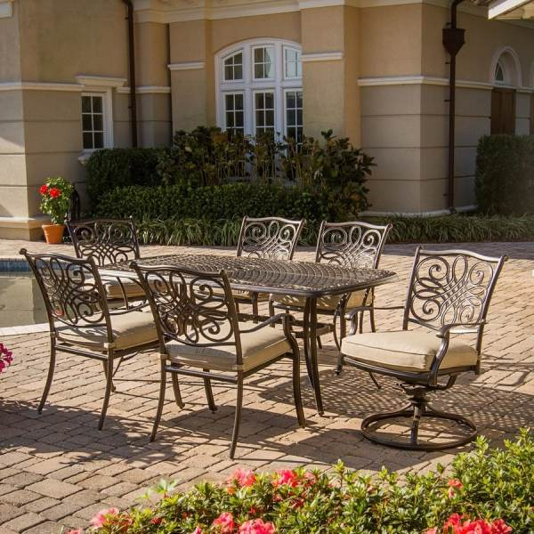 outdoor patio dining set furniture Shop Hanover Outdoor Furniture Traditions 7-Piece Bronze