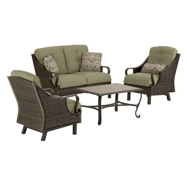 outdoor conversation sets patio furniture Shop Hanover Outdoor Furniture Ventura 4-Piece Wicker