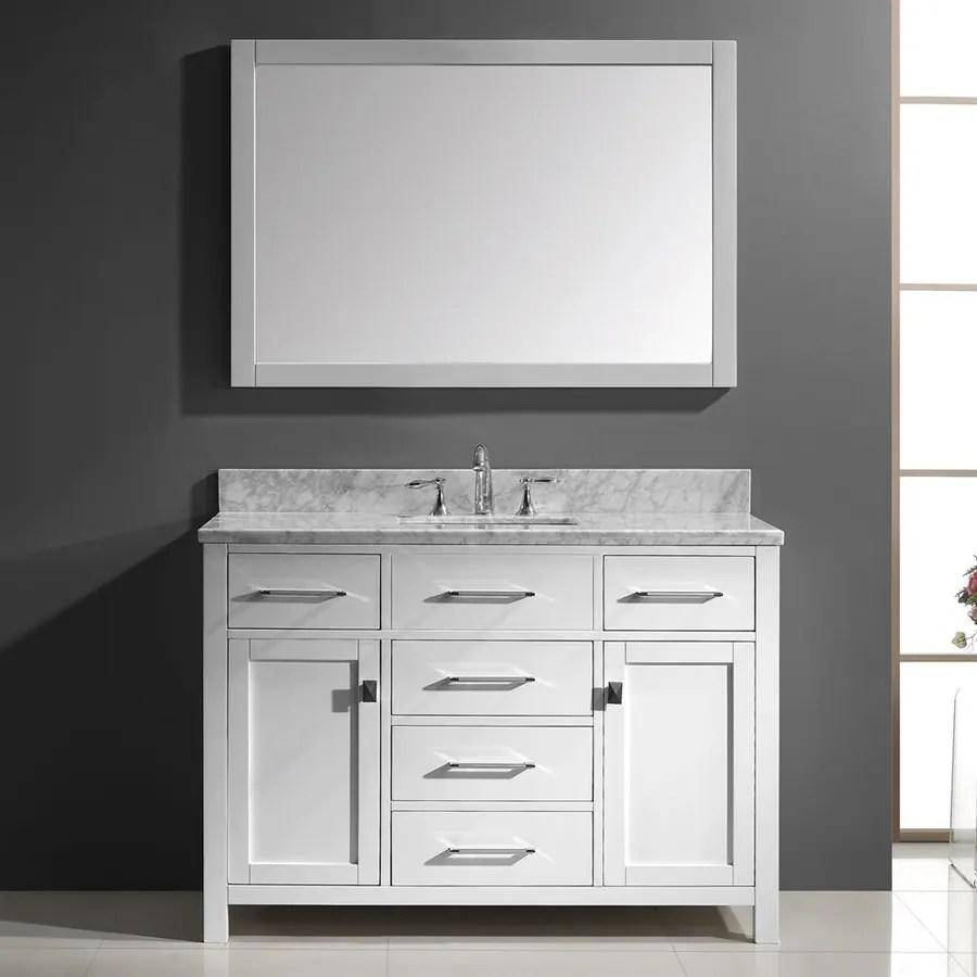 virtu usa caroline white single sink vanity with carrara white natural marble top common