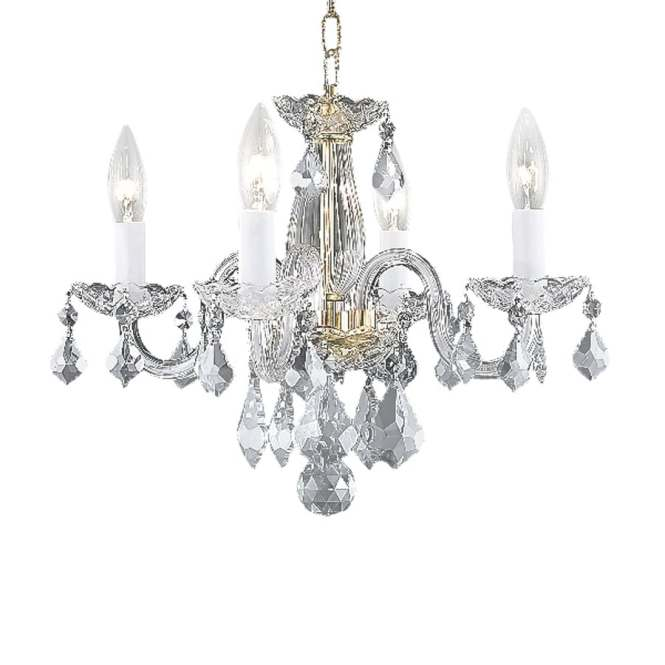 Elegant Lighting Rococo 15 In 4 Light Gold Crystal Candle Chandelier