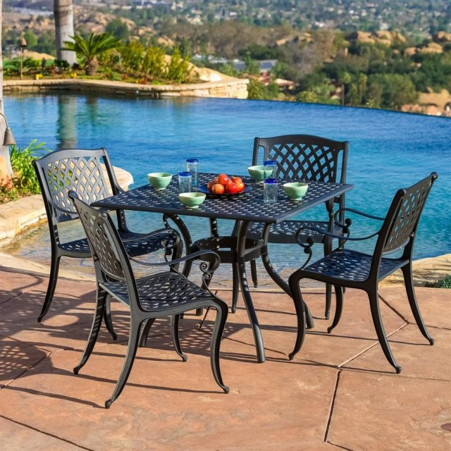 best selling home decor hallandale 5-piece black metal frame patio