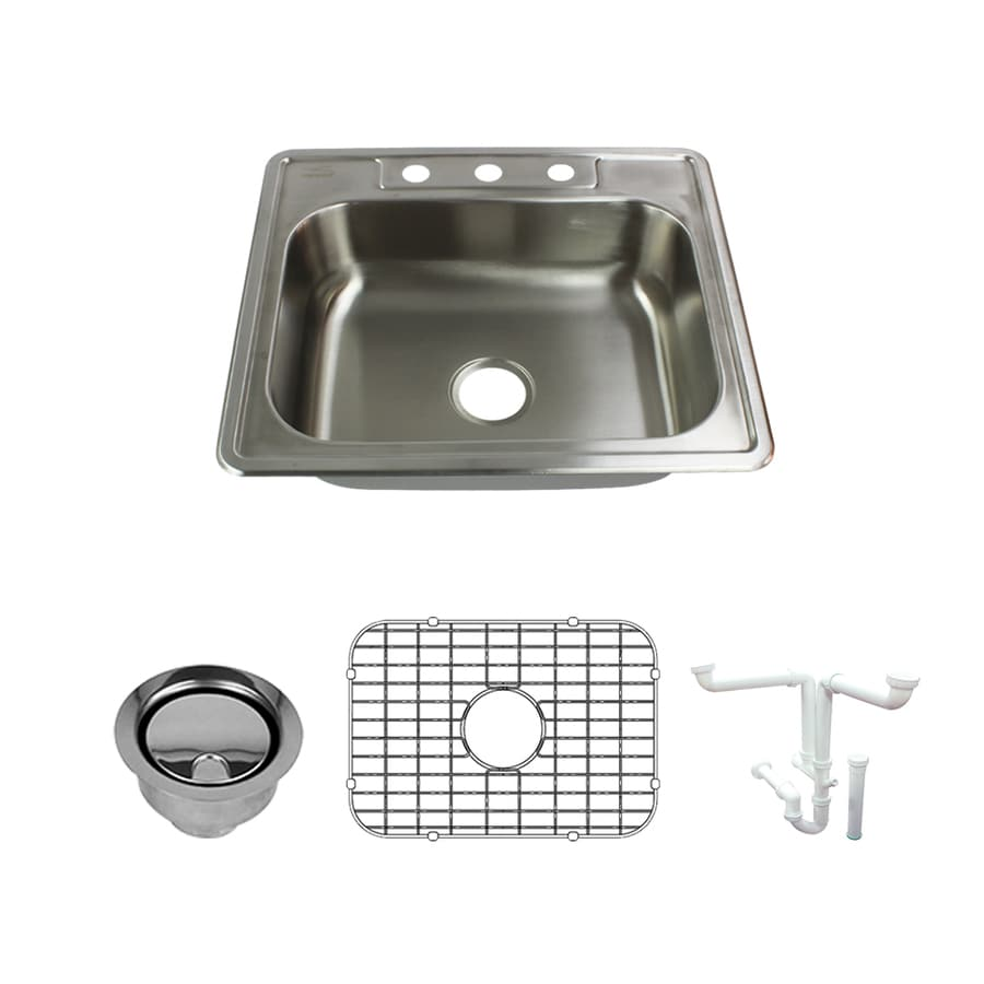 transolid select drop in 25 in x 22 in brushed stainless steel single bowl 3 hole kitchen sink