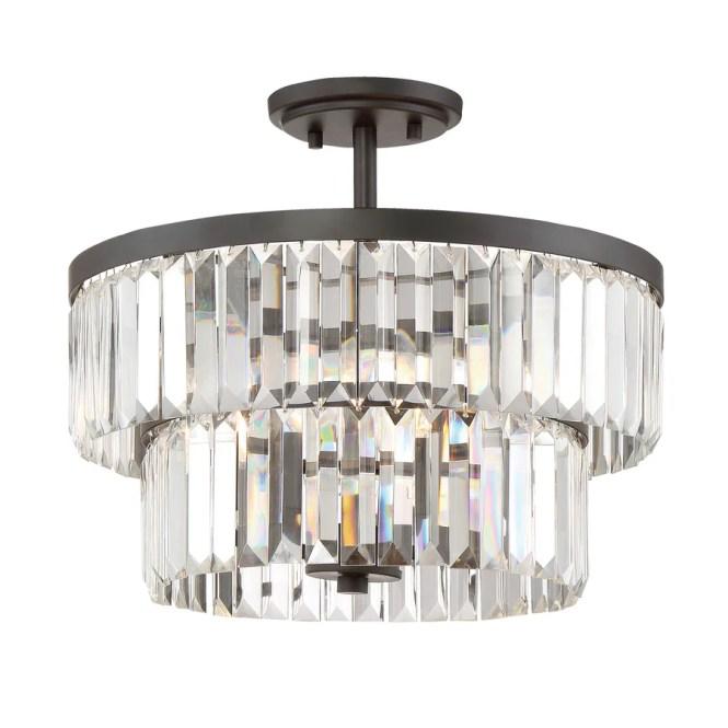 Quoizel Valentina 15 5 In W Bronze Clear Glass Semi Flush Mount Light