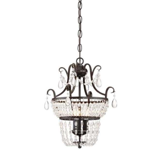 Quoizel Trista 13 6 In 3 Light Oil Rubbed Bronze Crystal Cage Mini Chandelier