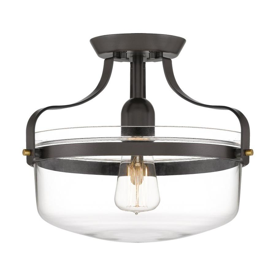 quoizel maddock 12 88 in bronze with brushed brass farmhouse incandescent semi flush mount light