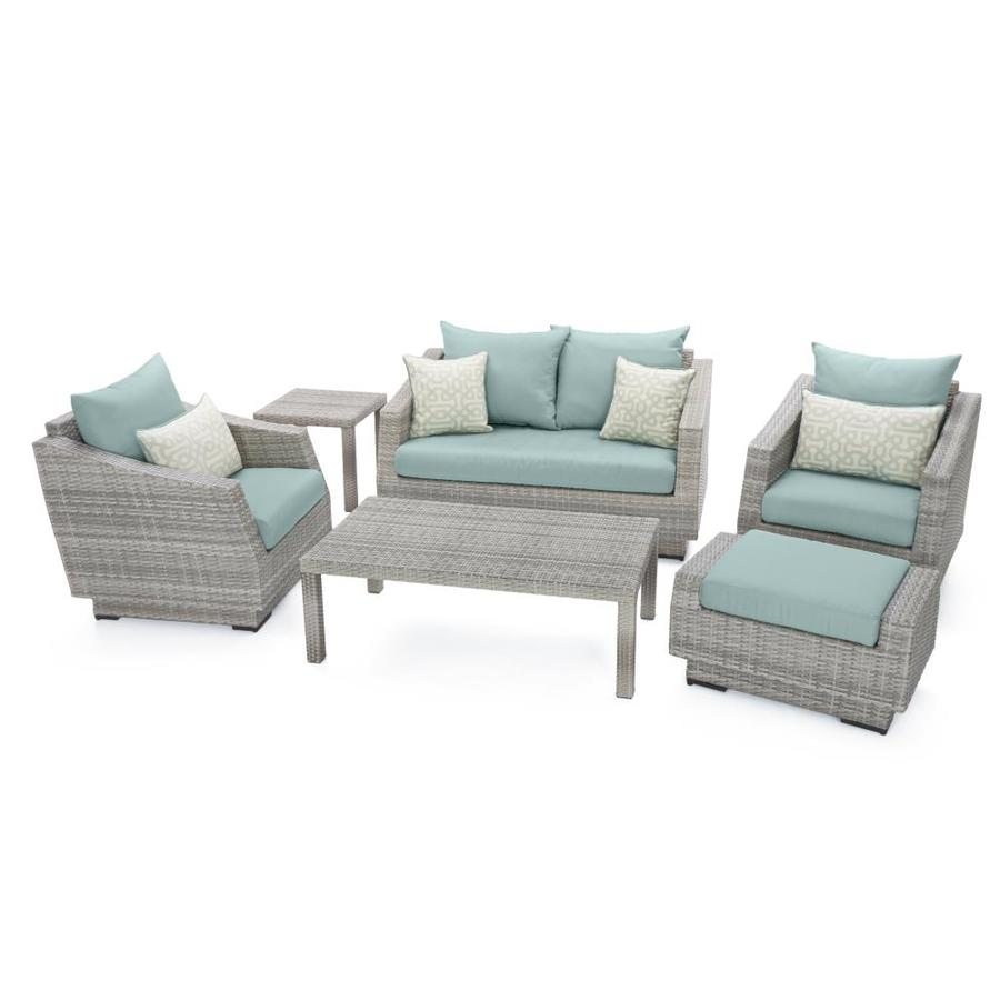 rst brands cannes 6 piece metal frame patio conversation set with sunbrella cushion s included
