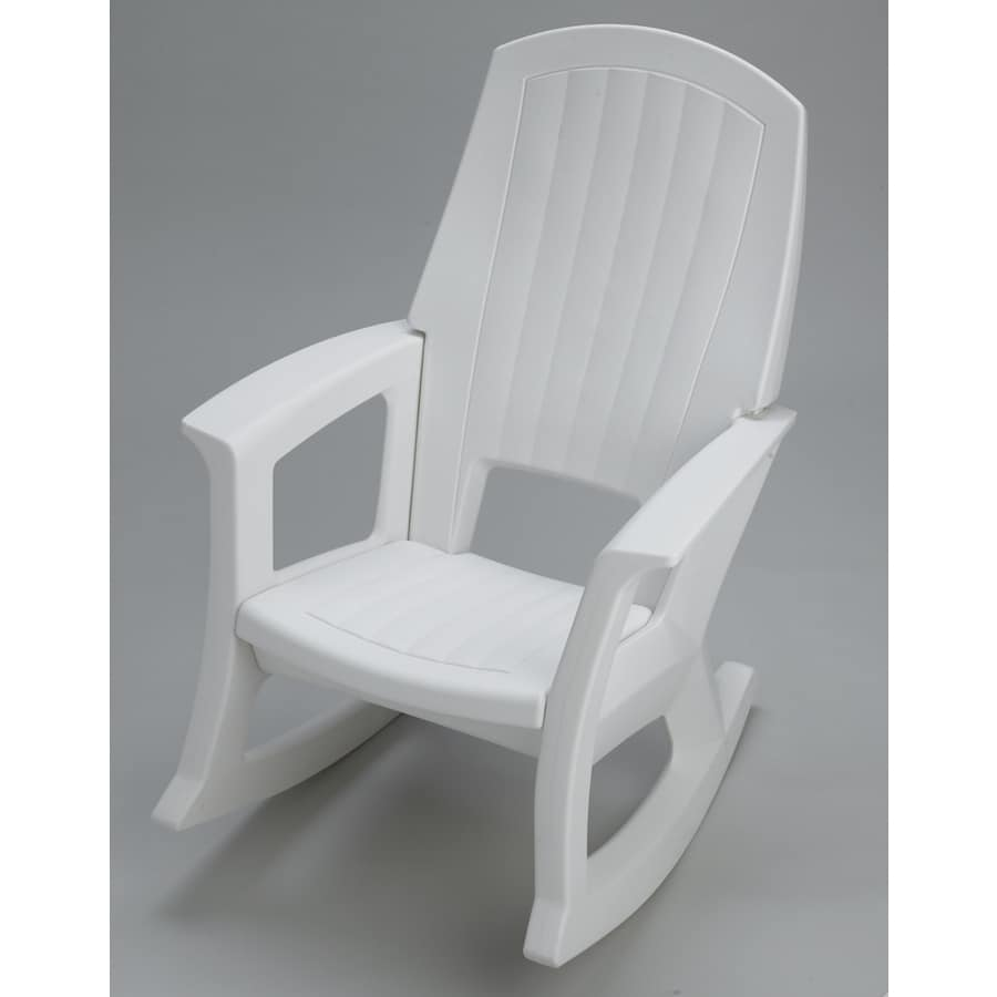 white plastic frame rocking chair s