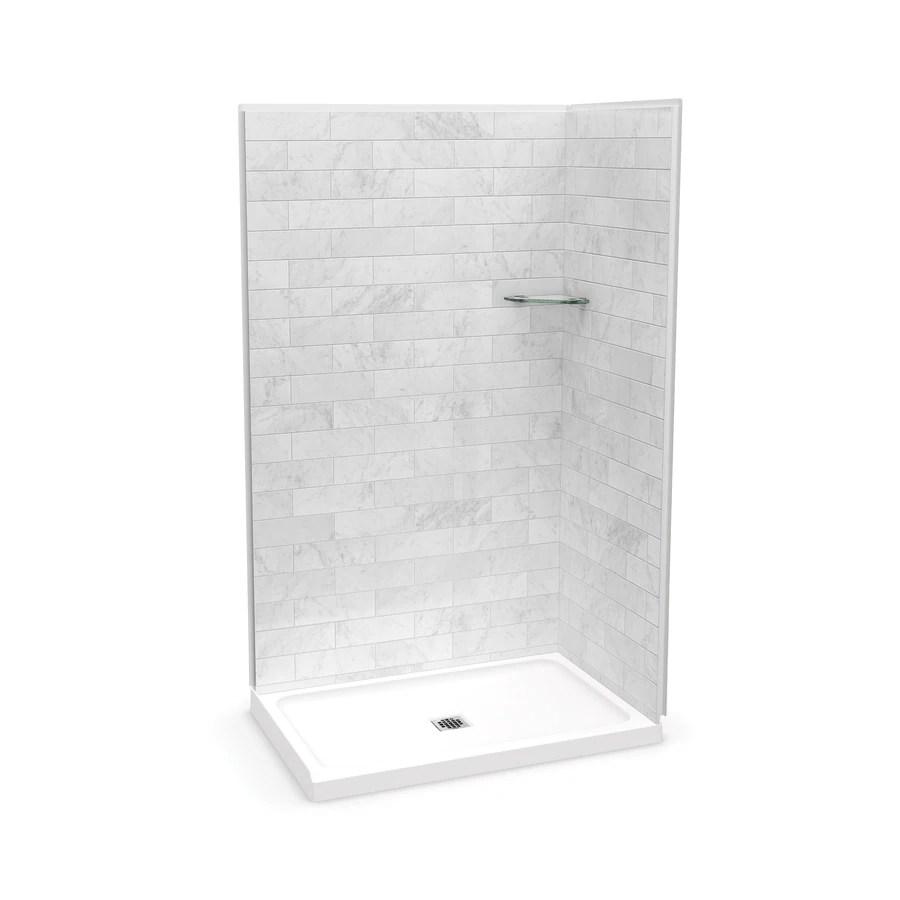 maax utile marble carrara 83 5 in x 32 in x 47 875 in 3 piece rectangle corner shower kit