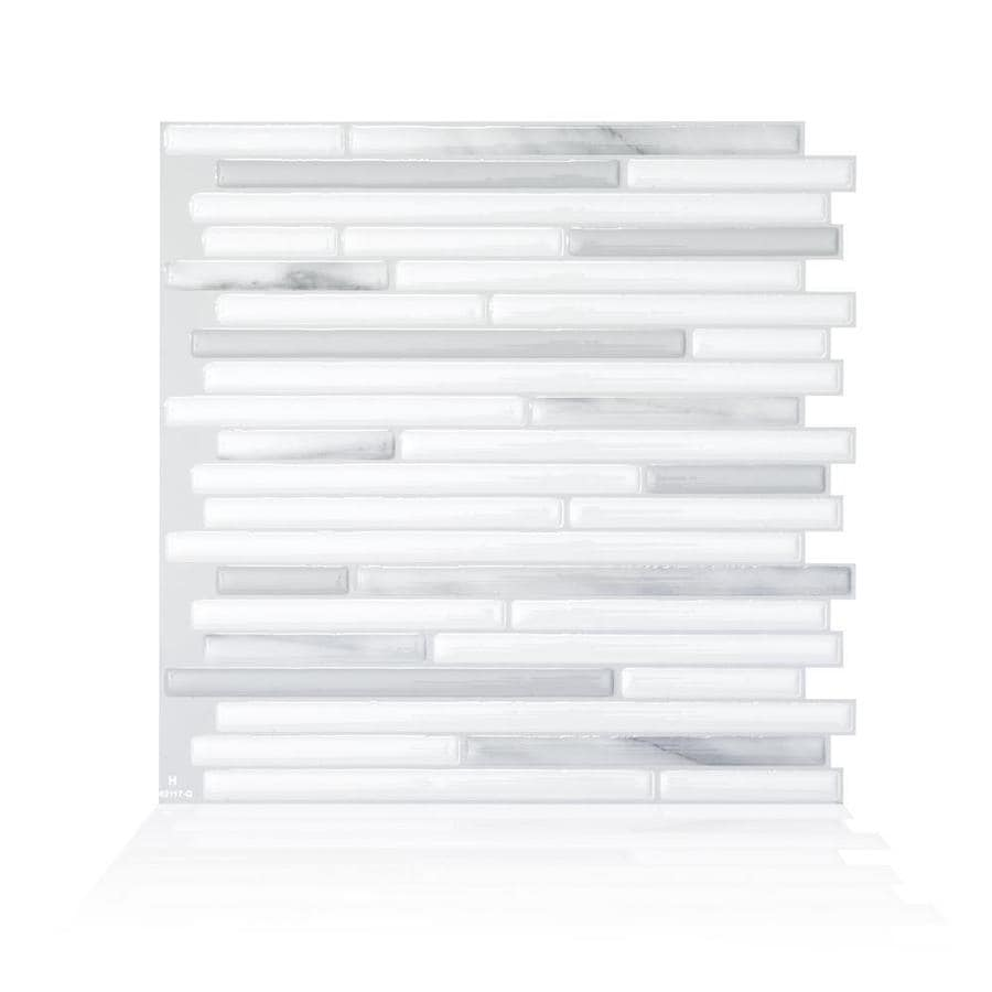 smart tiles 4 pack white gray marble silver 9 in x 10 in polished resin peel and stick wall tile