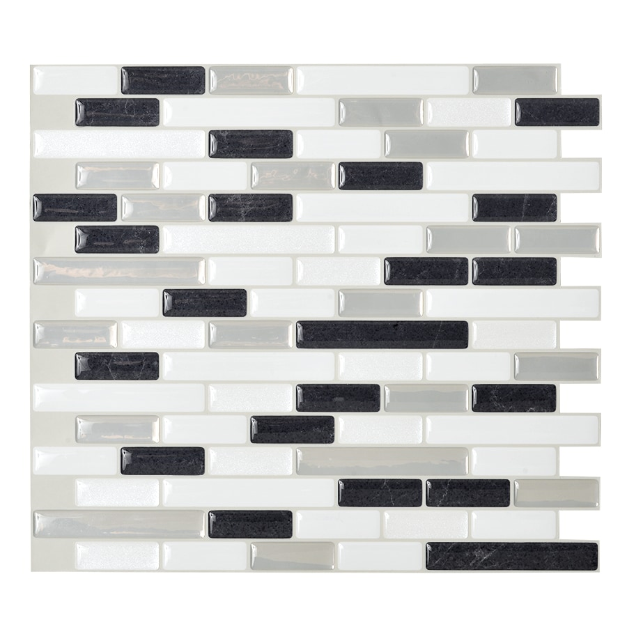 smart tiles 6 pack white linear mosaic composite vinyl wall tile common 10 in x 10 in actual 9 1 in x 10 2 in