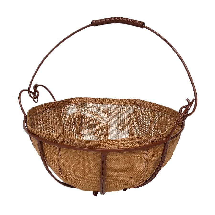 patio life 14 in w x 9 in h brown metal hanging planter