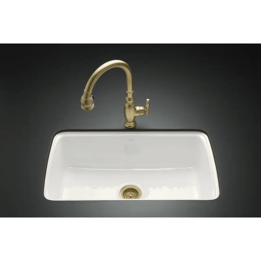kohler cape dory undermount 33 in x 22 in white single bowl 5 hole kitchen sink