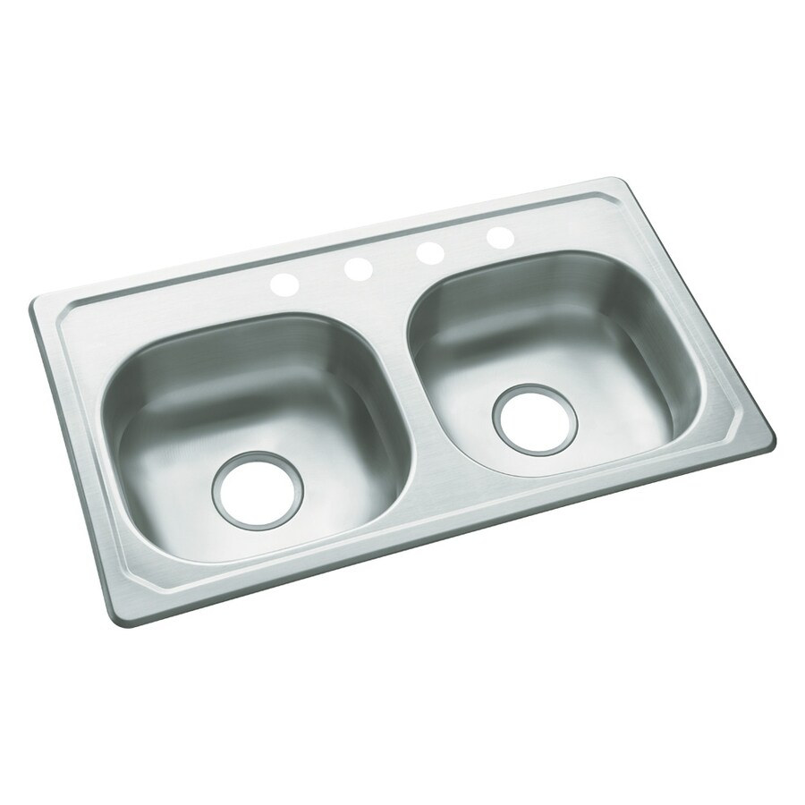 sterling drop in 33 in x 19 in satin double equal bowl 4 hole kitchen sink