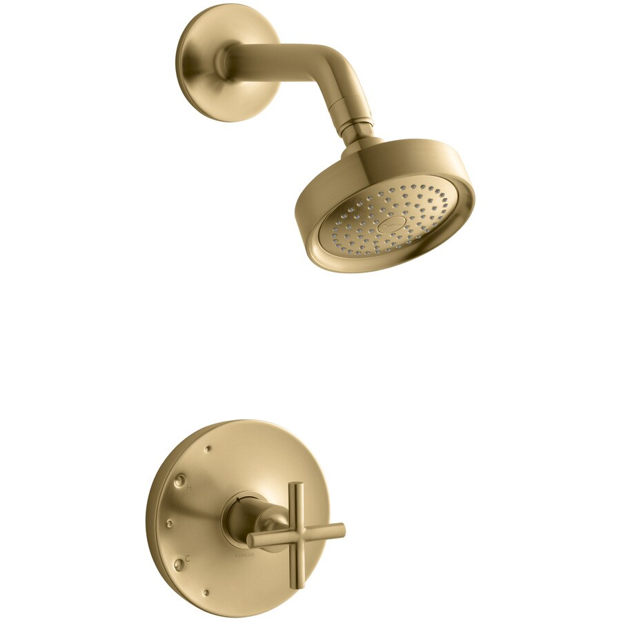 Shop KOHLER Purist Vibrant Moderne Brushed Gold 1 Handle