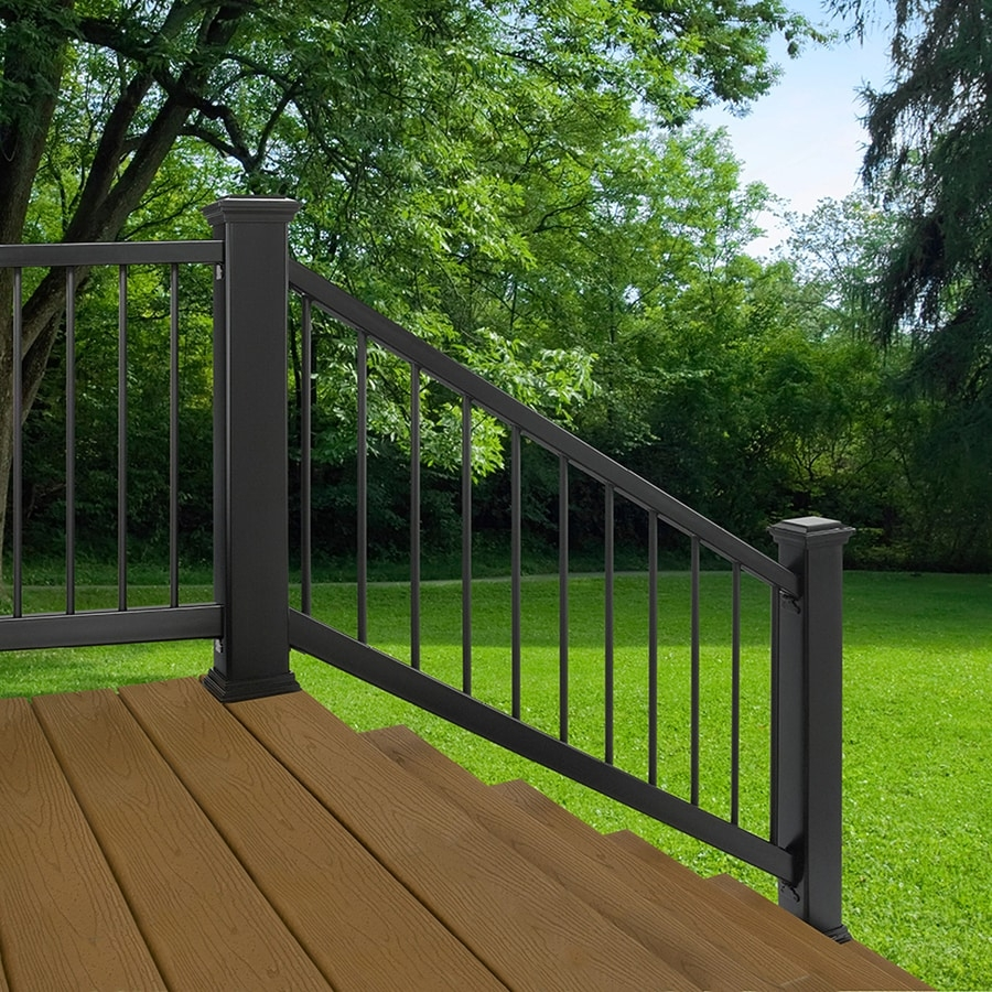 Black Deck Railing At Lowes Com | Lowes Exterior Stair Railing | Composite Decking | Matte Black Aluminum Railing | Railing Systems | Metal | Porch