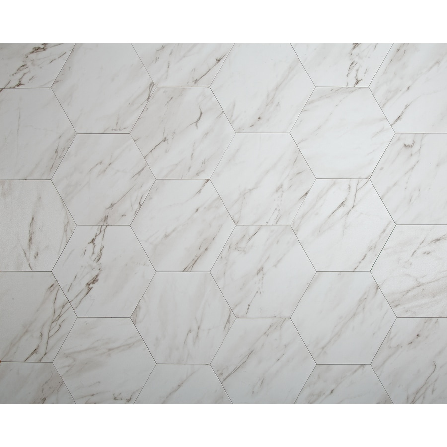 style selections grecian marble 7 3 4 in x 9 in groutable water resistant peel and stick vinyl tile 0 3699 sq ft lowes com