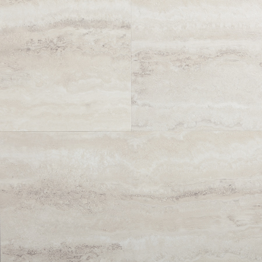 style selections oyster travertine 12 in x 24 in groutable water resistant peel and stick luxury vinyl tile 2 sq ft