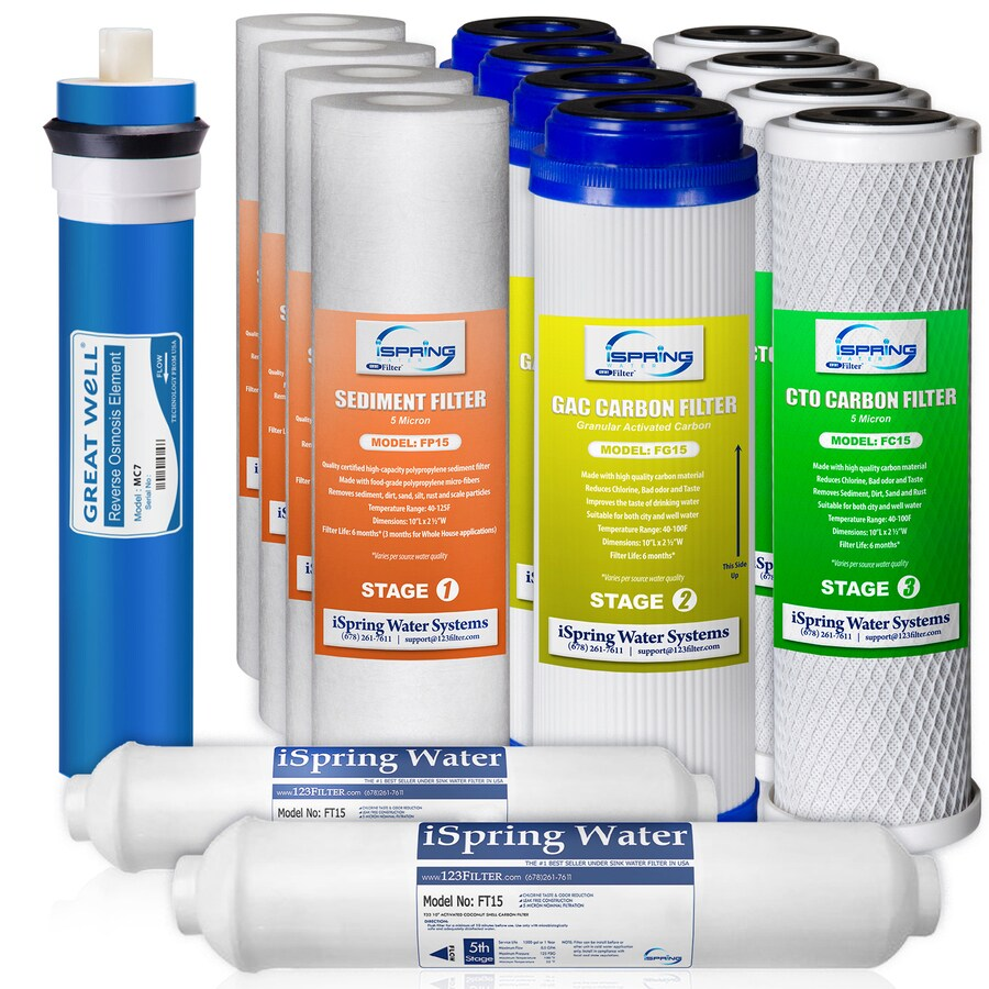 ispring f15 75 2 year ro water filter replacement 15 pack reverse osmosis under sink replacement filter