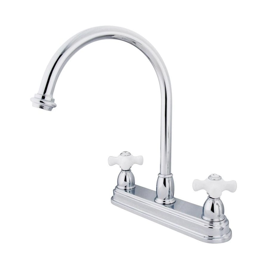 elements of design chicago chrome 2 handle deck mount high arc handle kitchen faucet deck plate included in the kitchen faucets department at lowes com