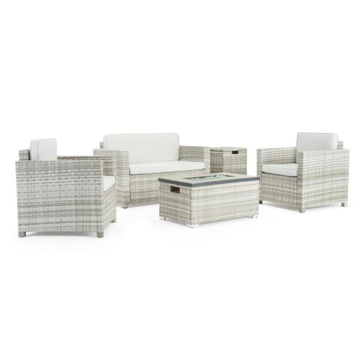 Sego Lily Boulder 4-Piece Metal Frame Patio Conversation Set with Sego Lily  Cushion(s) Included in the Patio Conversation Sets department at Lowes.com
