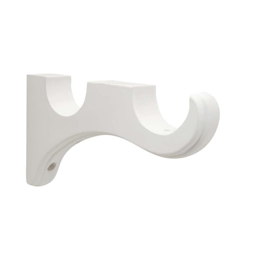 Allen Roth 2 Pack White Wood Double Curtain Rod Bracket At