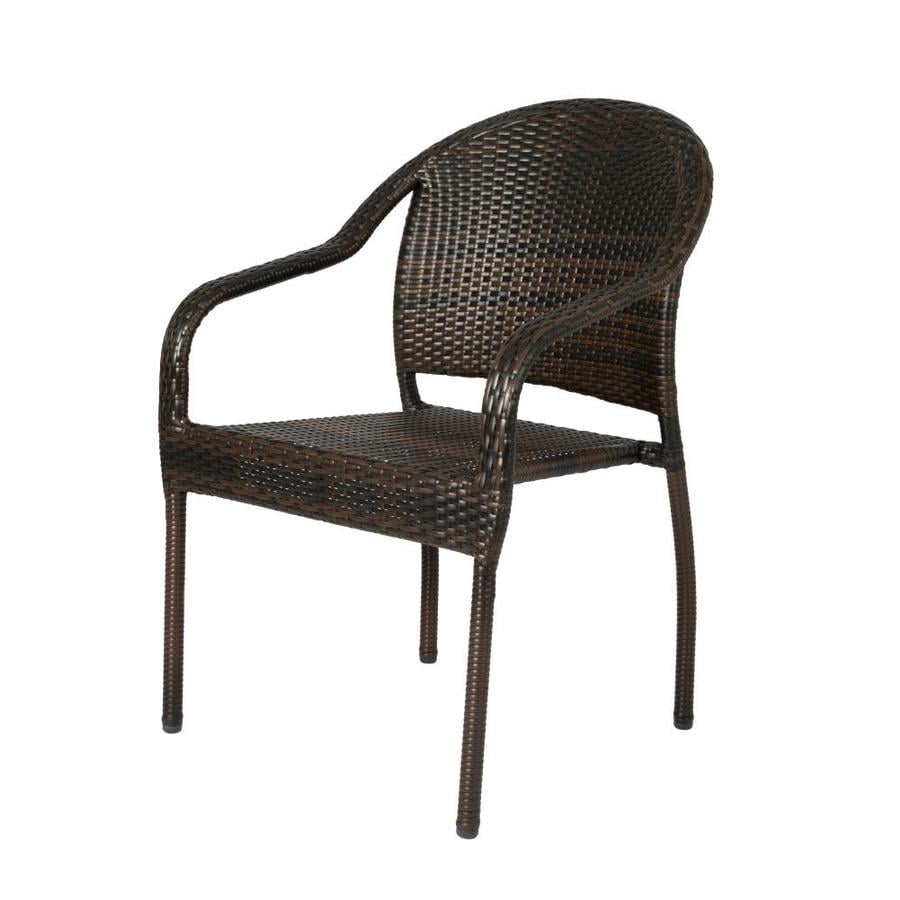 patio sense 4 wicker stackable mocha plastic frame stationary dining chair s with solid seat