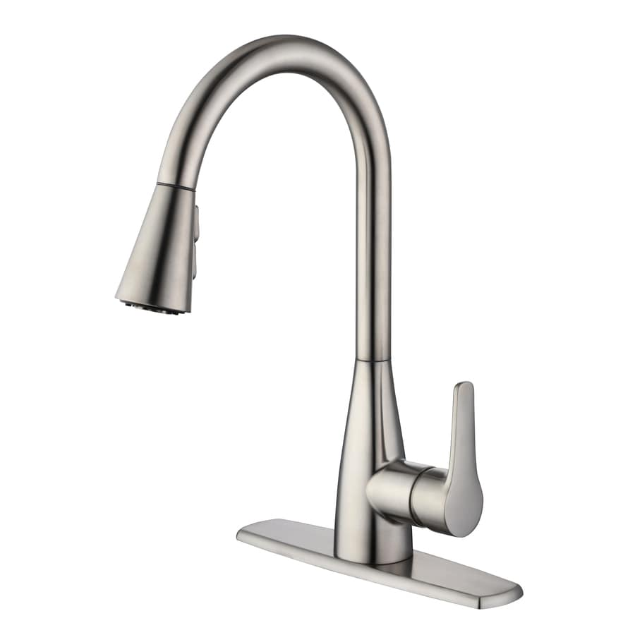 project source stainless steel 1 handle deck mount pull down handle kitchen faucet deck plate included