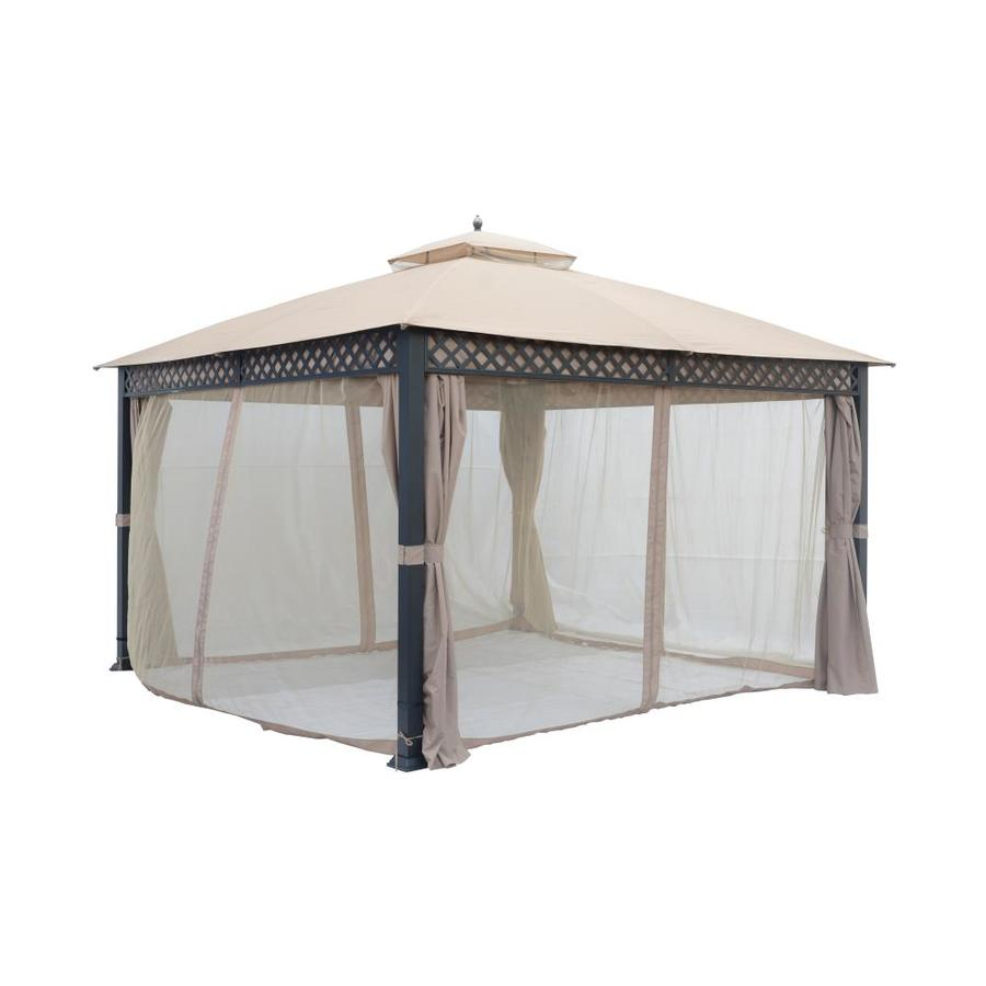 taipeng patio gazebo frame black fabric beige metal square screened semi permanent gazebo exterior 12 ft x 12 ft foundation 12 ft x 12 ft