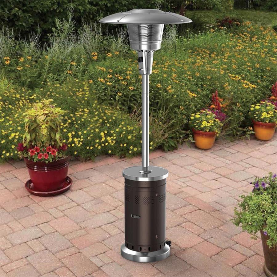 garden treasures 47000 btu mocha steel floorstanding liquid propane patio heater