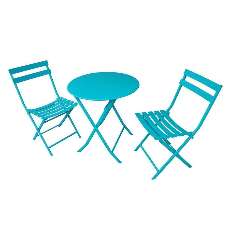 garden treasures set 3 piece blue frame bistro patio set with bistro