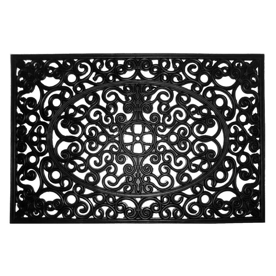 allen roth allen roth 2 ft x 3 ft black rectangular outdoor door mat