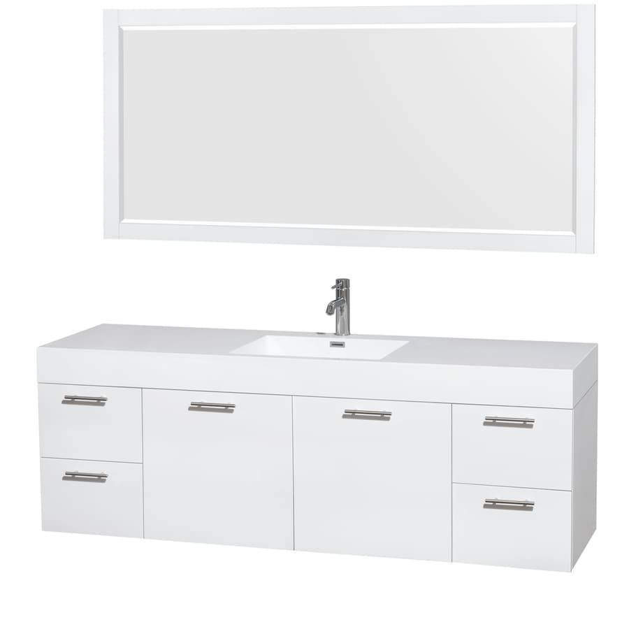 https www lowes com pd wyndham collection amare 71 75 in glossy white single sink bathroom vanity with white acrylic top mirror included 1000086407