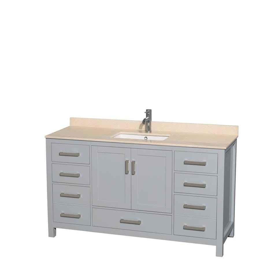 wyndham collection sheffield 60 in gray undermount single sink bathroom vanity with ivory natural marble top