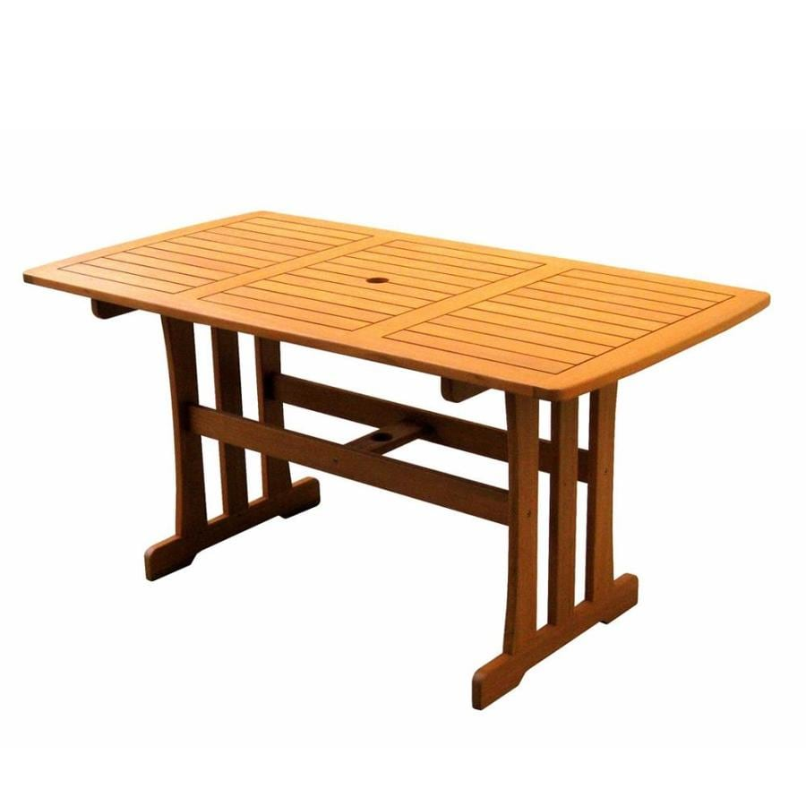 international caravan royal tahiti rectangle outdoor dining table 59 in w x 31 5 in l with umbrella hole