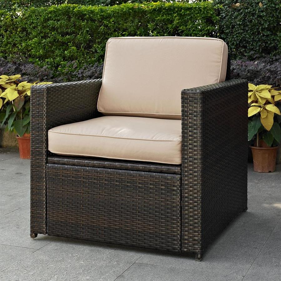 crosley furniture palm harbor wicker dark brown metal frame stationary conversation chair s with sand cushioned seat