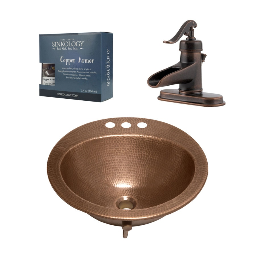 sinkology antique copper copper drop in round bathroom sink with faucet and overflow drain drain included 19 in x 19 in