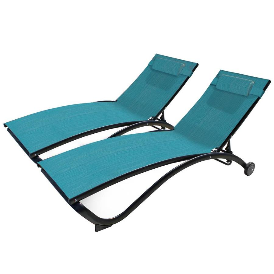 vivere 2 stackable black metal frame stationary chaise lounge chair s with sling seat seat