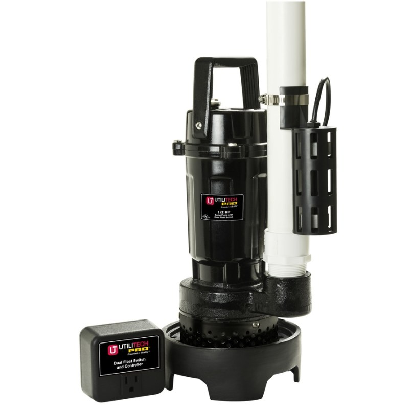 Utilitech 0 5 Hp Aluminum Submersible Sump Pump