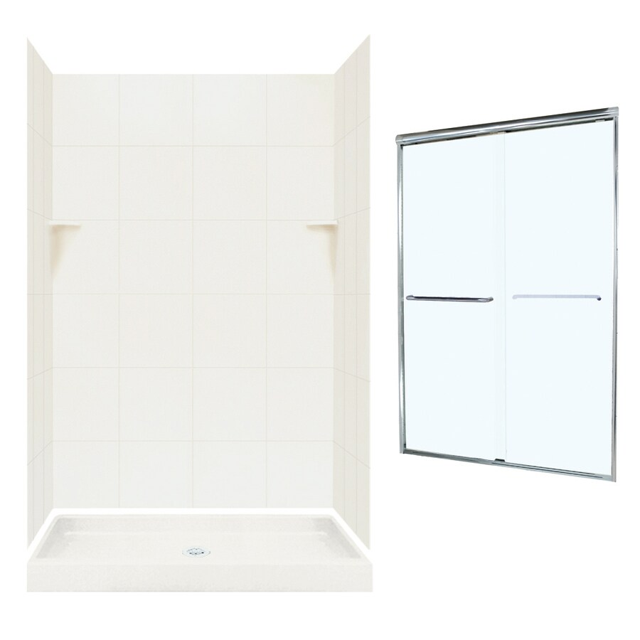 Swanstone Bisque 5-Piece Alcove Shower Kit (Common: 48-in x 34-in ...