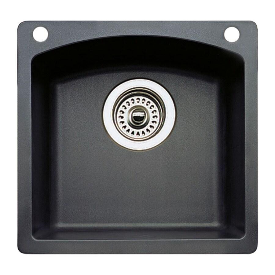 blanco diamond 15 in l x 15 in w anthracite black 2 hole granite residential bar sink