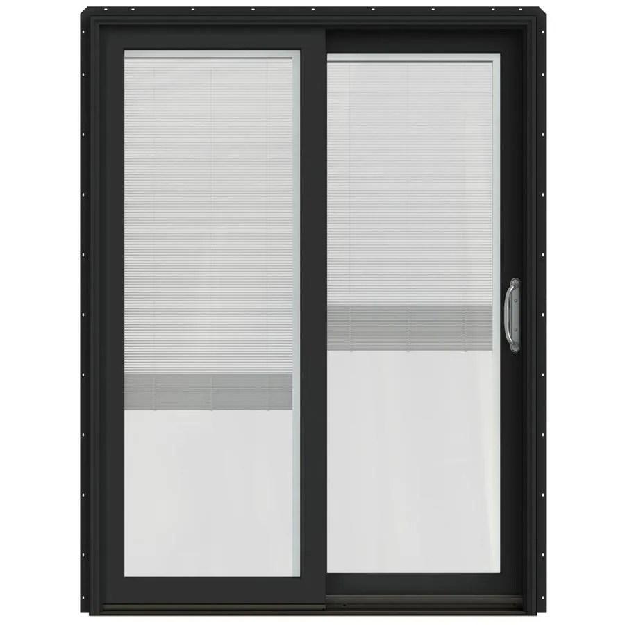 jeld wen 60 in x 80 in blinds between the glass bronze clad wood right hand double door sliding patio door with screen