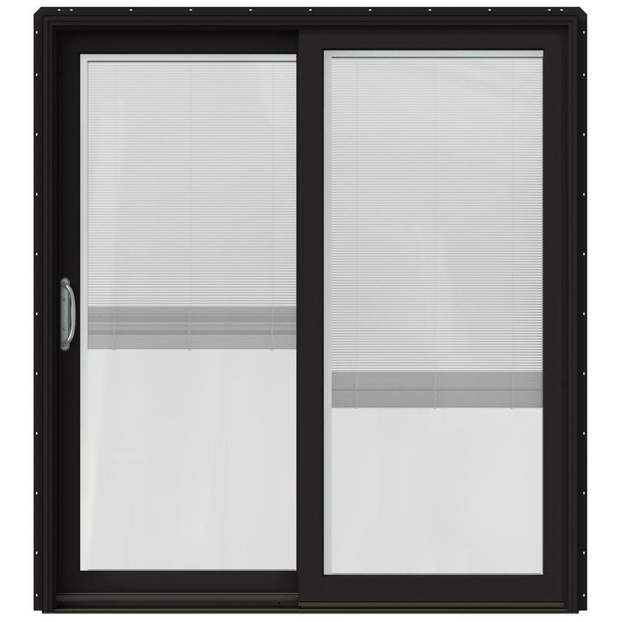 jeld wen 72 in x 80 in blinds between the glass black clad wood left hand sliding double door sliding patio door with screen