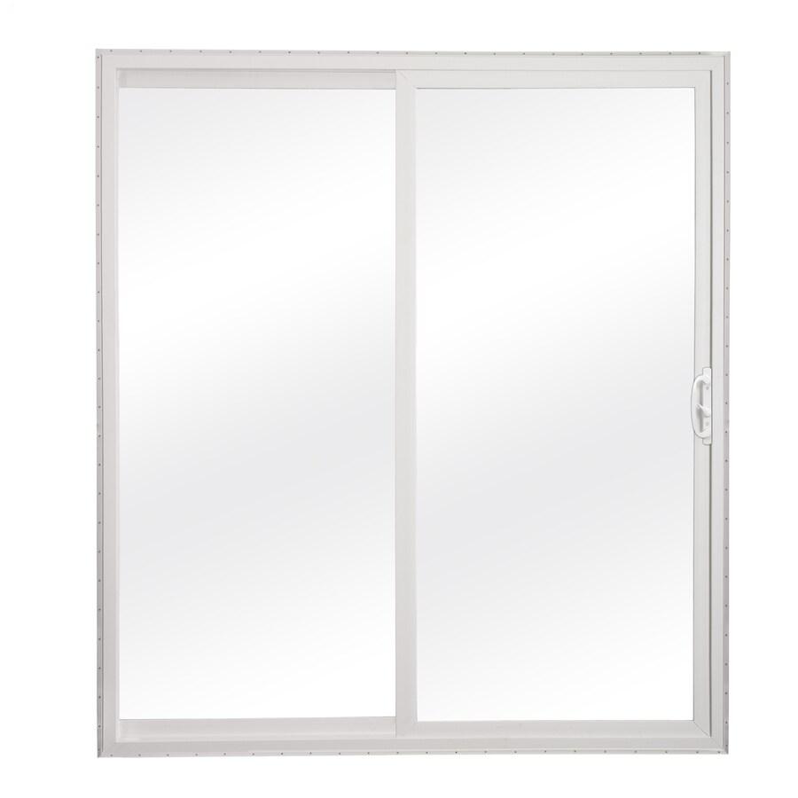 reliabilt 72 in x 80 in clear glass white vinyl universal reversible double door sliding patio door lowes com