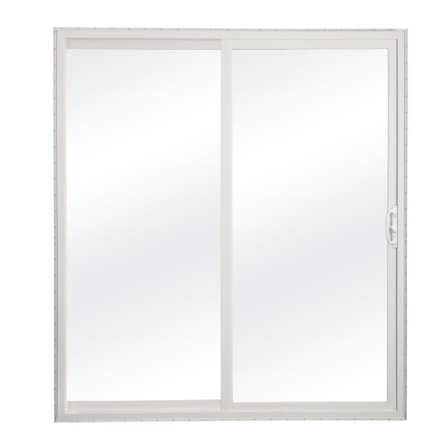reliabilt 60 in x 80 in clear glass white vinyl universal reversible double door sliding patio door in the patio doors department at lowes com