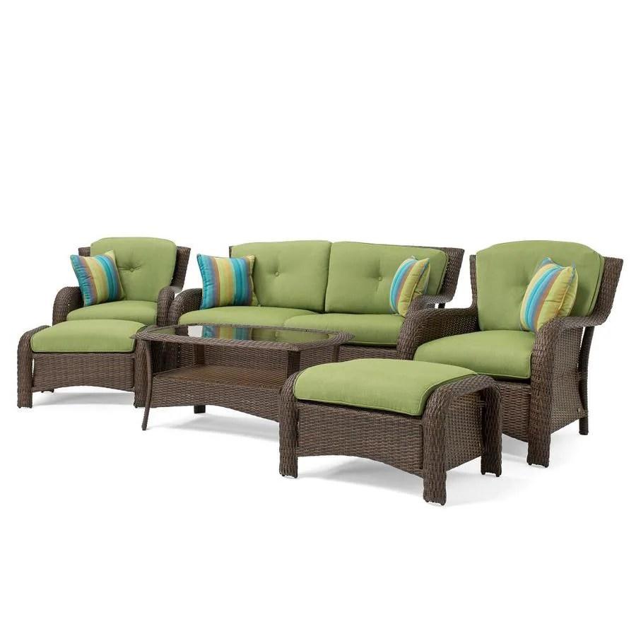 la z boy outdoor sawyer 6 piece metal frame patio conversation set with sunbrella cushion s included lowes com