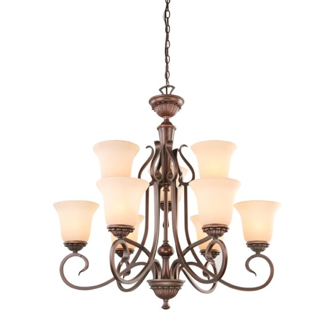Portfolio Colton Lakes 25 In Oil Rubbed Bronze Mediterranean Tinted Glass Shaded Chandelier