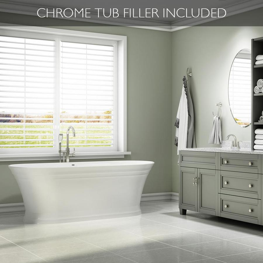 Shop Jacuzzi Lyndsay 67 In White With Center Drain Bathtub