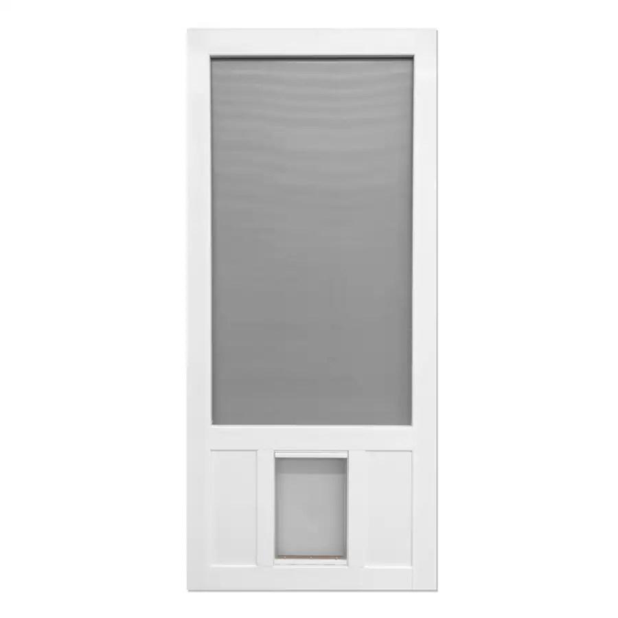 screen tight chesapeake 36 in x 80 in white vinyl frame hinged pet door screen door